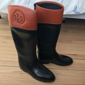 Tory Burch Black Rubber & Brown Leather Boots 9